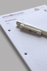 Schreibblock und Kugelschreiber bedruckt mit Union Klischee Logo